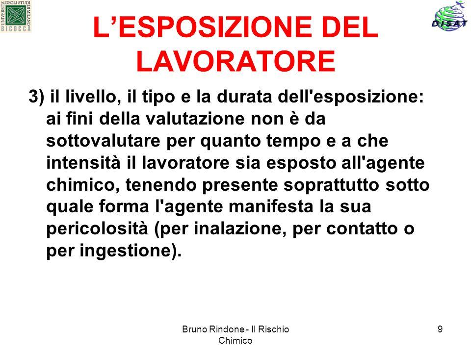 Bruno Rindone - Il Rischio Chimico 9 LESPOSIZIONE DEL LAVORATORE 3) il livello, il tipo e la durata dell'esposizione: ai fini della valutazione non è