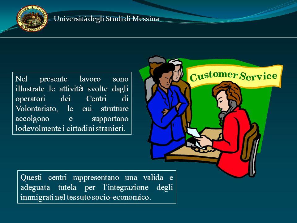 Nel presente lavoro sono illustrate le attivit à svolte dagli operatori dei Centri di Volontariato, le cui strutture accolgono e supportano lodevolmente i cittadini stranieri.