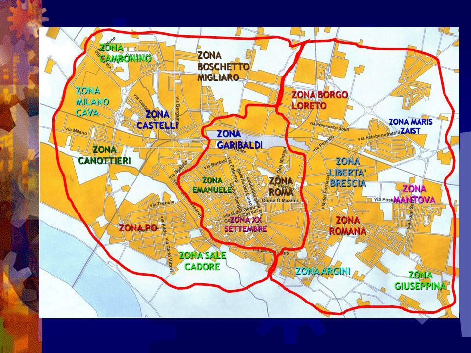 zone Nel perimetro di ogni Comparto, seguendo la suddivisione urbanistica cittadina, sono state individuate poi diverse zone che, come abbiamo verificato, evidenziano perfettamente altrettante realtà sociali.