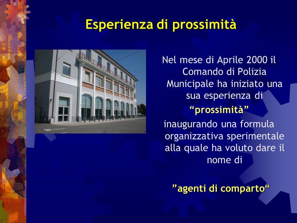 Corpo di Polizia Municipale di Cremona Comparti territoriali Esperienza di prossimità Modalità organizzative Strumenti operativi