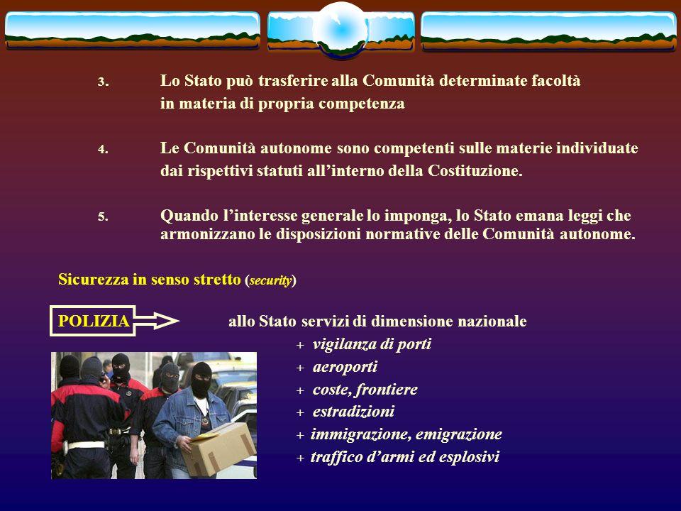 3.Lo Stato può trasferire alla Comunità determinate facoltà in materia di propria competenza 4.