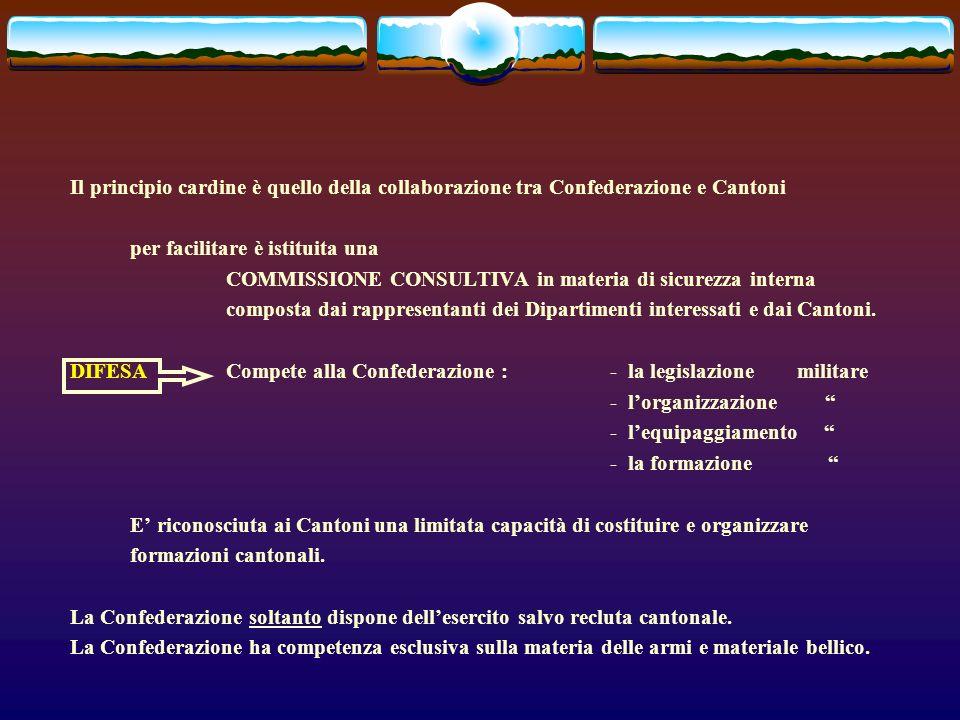 Il principio cardine è quello della collaborazione tra Confederazione e Cantoni per facilitare è istituita una COMMISSIONE CONSULTIVA in materia di sicurezza interna composta dai rappresentanti dei Dipartimenti interessati e dai Cantoni.