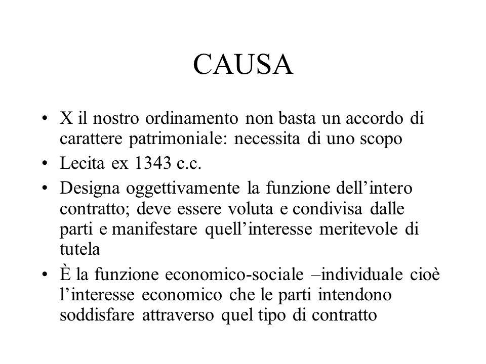 CAUSA X il nostro ordinamento non basta un accordo di carattere patrimoniale: necessita di uno scopo Lecita ex 1343 c.c. Designa oggettivamente la fun