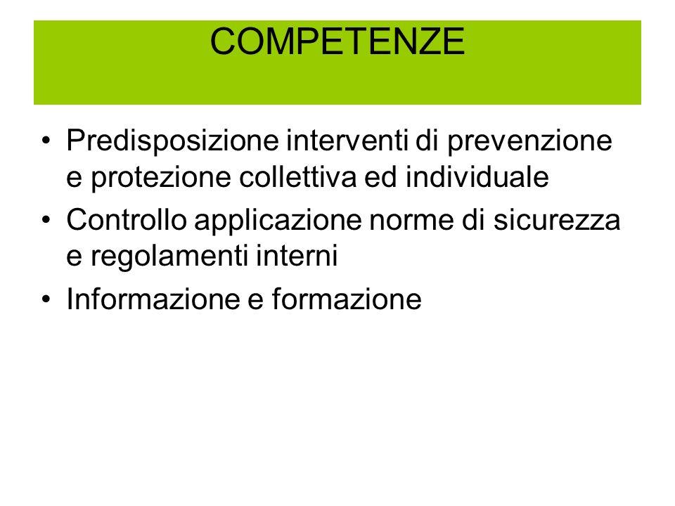 COMPETENZE Predisposizione interventi di prevenzione e protezione collettiva ed individuale Controllo applicazione norme di sicurezza e regolamenti interni Informazione e formazione