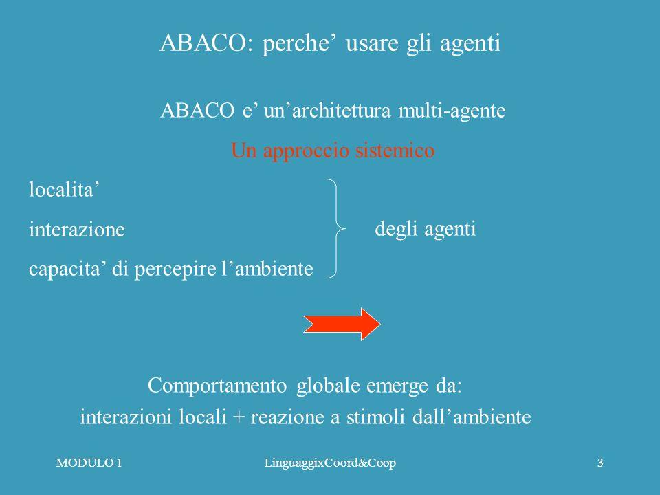 MODULO 1LinguaggixCoord&Coop2 ABACO: per che cosa ABACO is e una semantica operazione per la notazione Ariadne Categories of Articulation Work Agenti attributi state behaviors (ACL scripts) Coordination Mechanisms Aggregazioni di agenti Composizione uniforme di agenti per rappresentare Coordination Mechanisms a qualunque livello