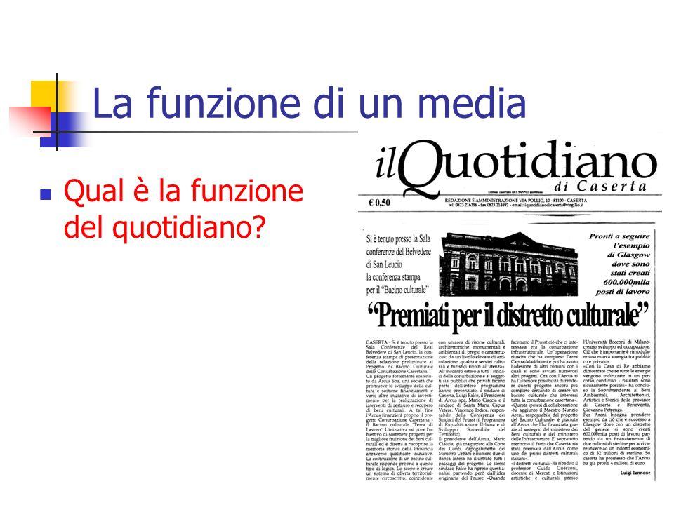 La funzione di un media Qual è la funzione del quotidiano?