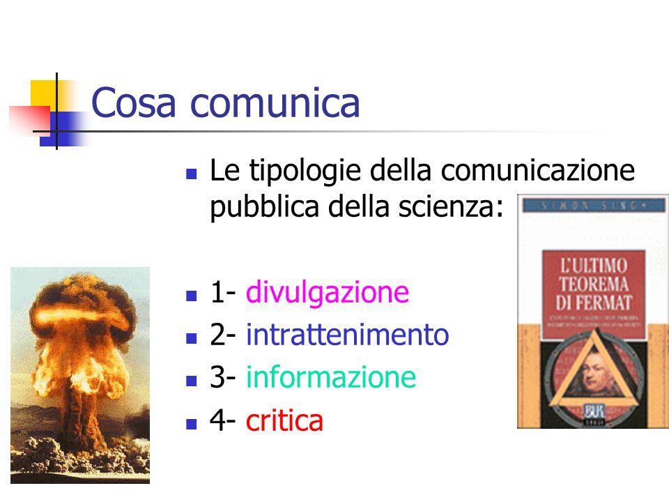 Chi comunica Giornalisti Scienziati Studiosi (storici, filosofi) Economisti Bioetici Politici …. Tutti portatori di comunicazione legittima