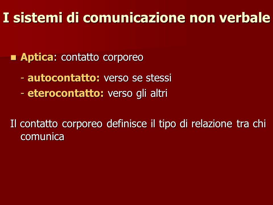 Aptica: contatto corporeo Aptica: contatto corporeo - autocontatto: verso se stessi - eterocontatto: verso gli altri Il contatto corporeo definisce il