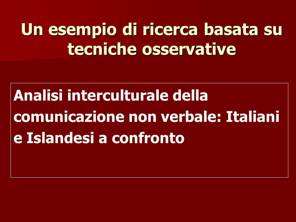 Un esempio di ricerca basata su tecniche osservative Analisi interculturale della comunicazione non verbale: Italiani e Islandesi a confronto