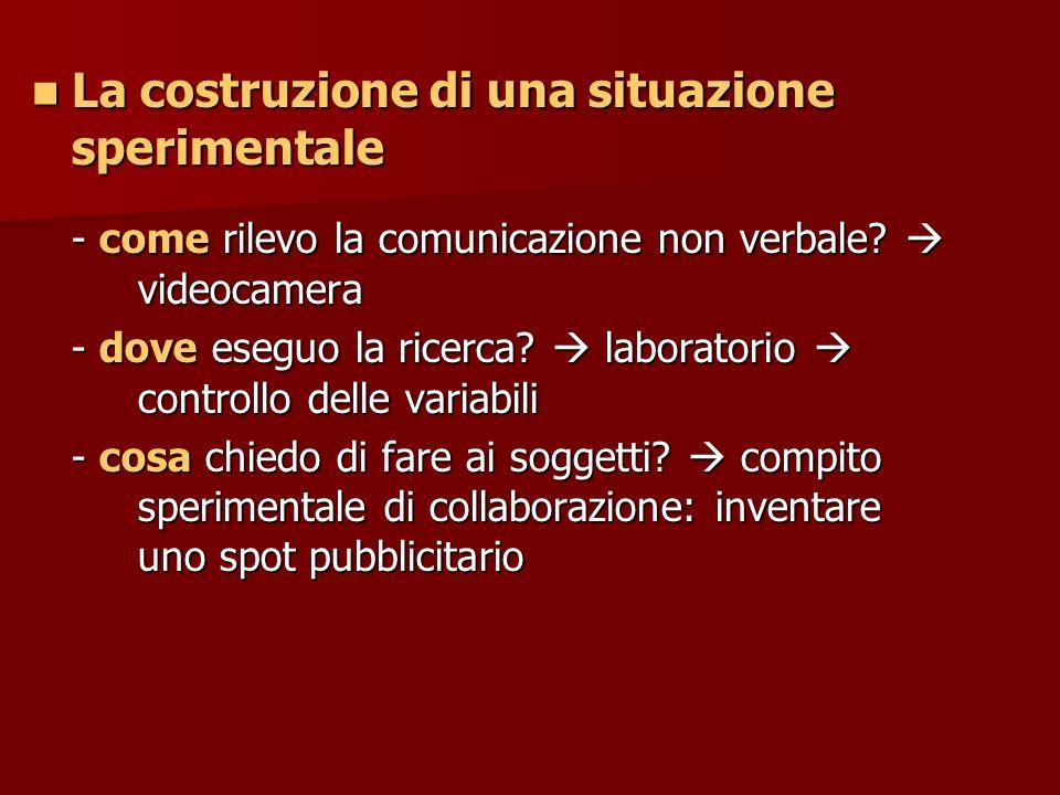 La costruzione di una situazione sperimentale La costruzione di una situazione sperimentale - come rilevo la comunicazione non verbale? videocamera -