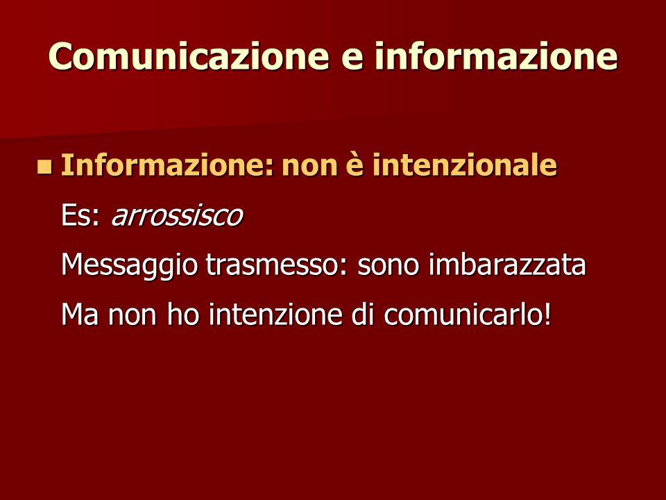 Comunicazione e informazione Informazione: non è intenzionale Informazione: non è intenzionale Es: arrossisco Messaggio trasmesso: sono imbarazzata Ma