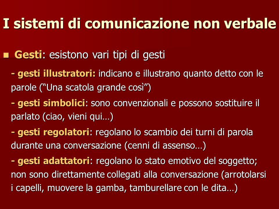 I sistemi di comunicazione non verbale Gesti: esistono vari tipi di gesti Gesti: esistono vari tipi di gesti - gesti illustratori: indicano e illustra