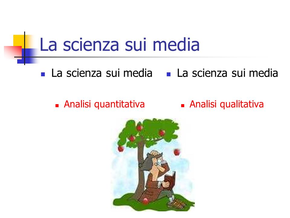 La scienza sui media Analisi quantitativa La scienza sui media Analisi qualitativa