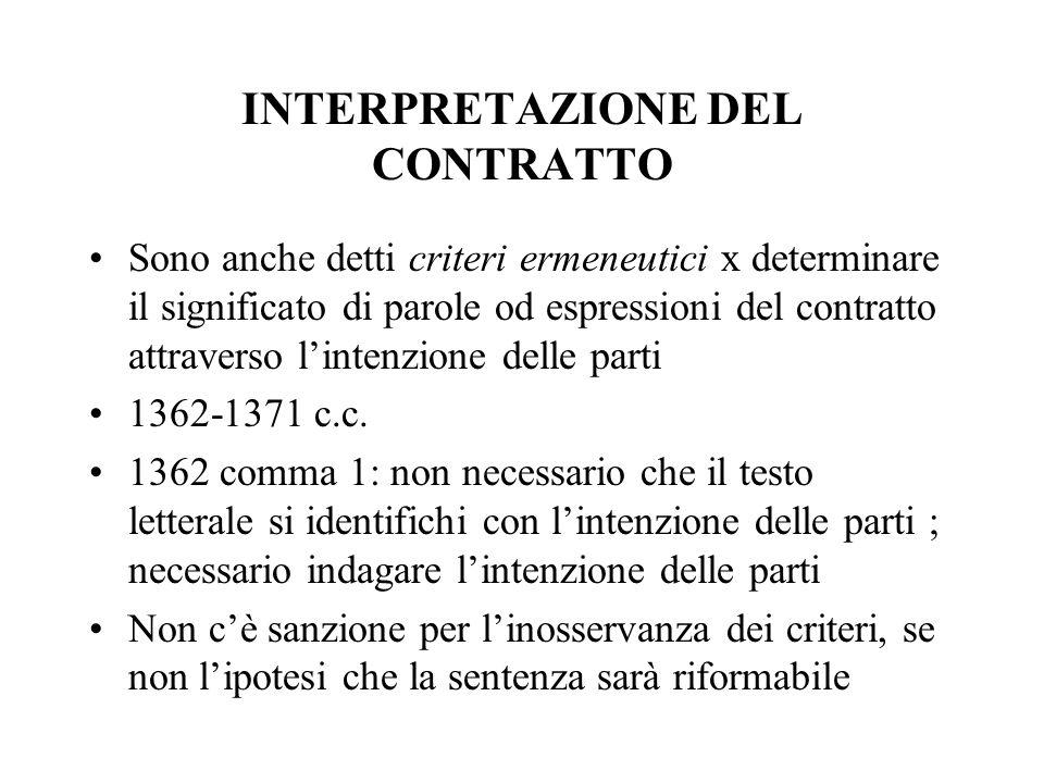 INTERPRETAZIONE DEL CONTRATTO Sono anche detti criteri ermeneutici x determinare il significato di parole od espressioni del contratto attraverso lint