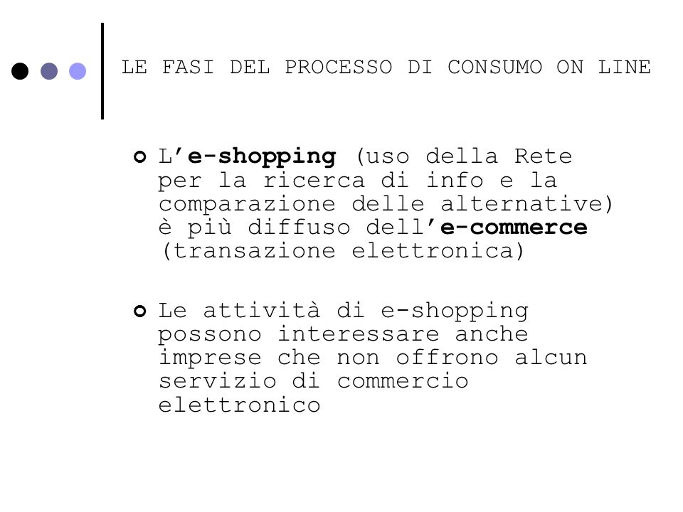 LE FASI DEL PROCESSO DI CONSUMO ON LINE Pre-acquisto: e-shopping Acquisto: e-commerce Post-acquisto: e-relation - Identificazione del problema - Ricerca delle informazioni - Valutazione delle alternative - Decisione di acquisto e negoziazione - Transazione - Soddisfazione/insoddisfazione
