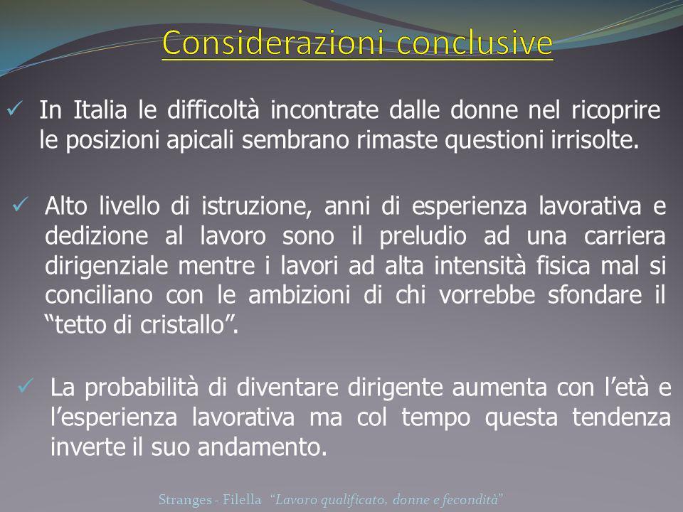 In Italia le difficoltà incontrate dalle donne nel ricoprire le posizioni apicali sembrano rimaste questioni irrisolte. Alto livello di istruzione, an