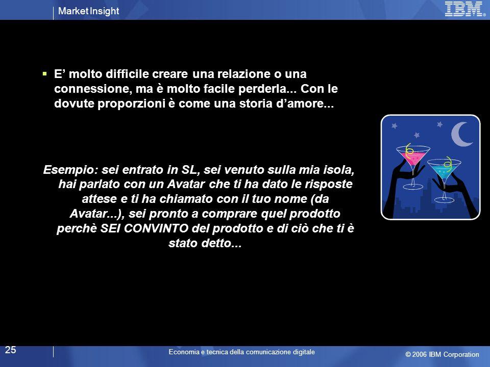 Market Insight © 2006 IBM Corporation Economia e tecnica della comunicazione digitale 25 E molto difficile creare una relazione o una connessione, ma è molto facile perderla...