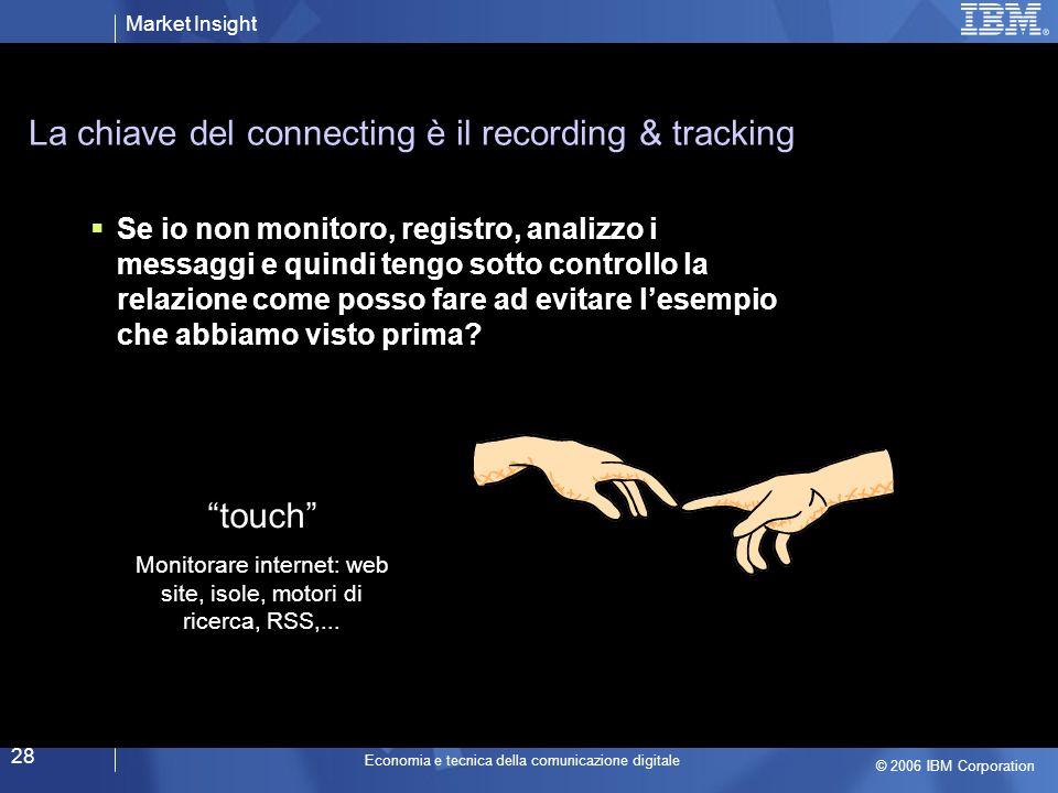 Market Insight © 2006 IBM Corporation Economia e tecnica della comunicazione digitale 28 La chiave del connecting è il recording & tracking Se io non monitoro, registro, analizzo i messaggi e quindi tengo sotto controllo la relazione come posso fare ad evitare lesempio che abbiamo visto prima.