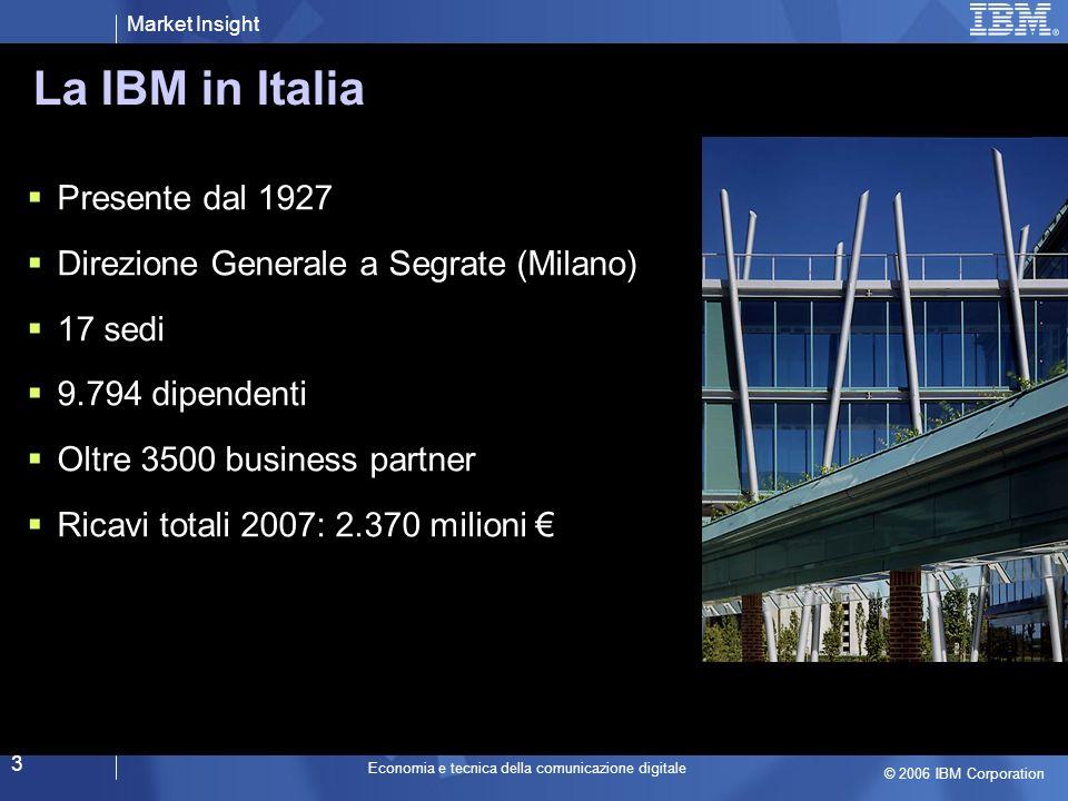 Market Insight © 2006 IBM Corporation Economia e tecnica della comunicazione digitale 3 Presente dal 1927 Direzione Generale a Segrate (Milano) 17 sedi 9.794 dipendenti Oltre 3500 business partner Ricavi totali 2007: 2.370 milioni La IBM in Italia Nuovo Headquarter IBM Italia a Segrate * dati relativi al gruppo IBM Italia