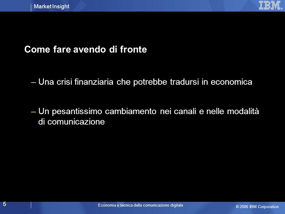 Market Insight © 2006 IBM Corporation Economia e tecnica della comunicazione digitale 6