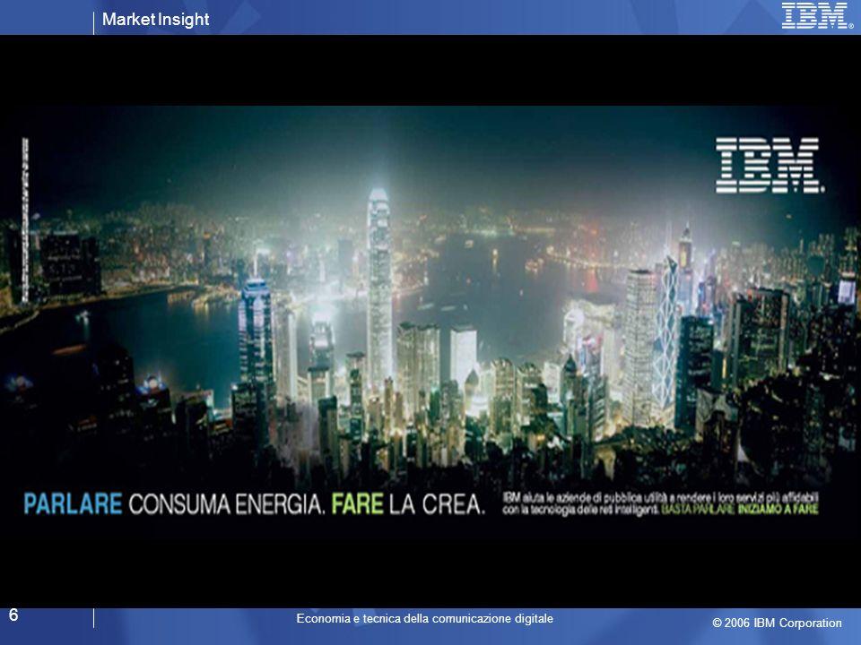 Market Insight © 2006 IBM Corporation Economia e tecnica della comunicazione digitale 17 Lera della persuasione Lera del coinvolgimento Lera della persuasione Il consumatore è Adulto
