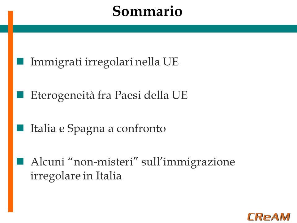 Sommario Immigrati irregolari nella UE Eterogeneità fra Paesi della UE Italia e Spagna a confronto Alcuni non-misteri sullimmigrazione irregolare in I