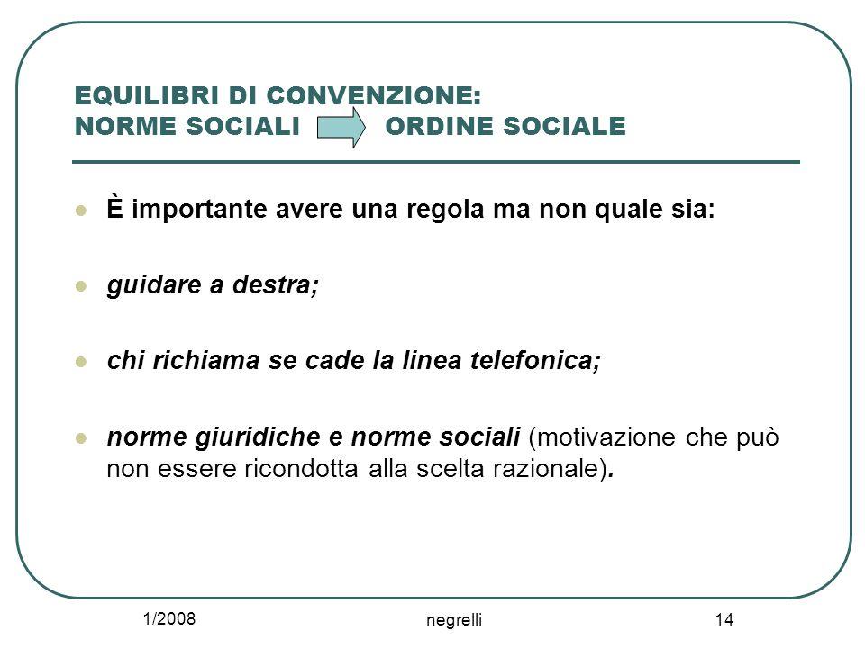 1/2008 negrelli 14 EQUILIBRI DI CONVENZIONE: NORME SOCIALI ORDINE SOCIALE È importante avere una regola ma non quale sia: guidare a destra; chi richia