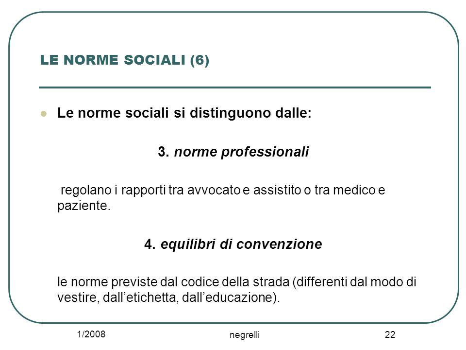 1/2008 negrelli 22 LE NORME SOCIALI (6) Le norme sociali si distinguono dalle: 3. norme professionali regolano i rapporti tra avvocato e assistito o t