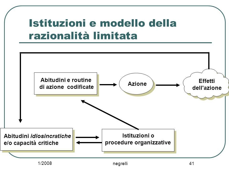 1/2008 negrelli 41 Istituzioni e modello della razionalità limitata Abitudini e routine di azione codificate Azione Istituzioni o procedure organizzat