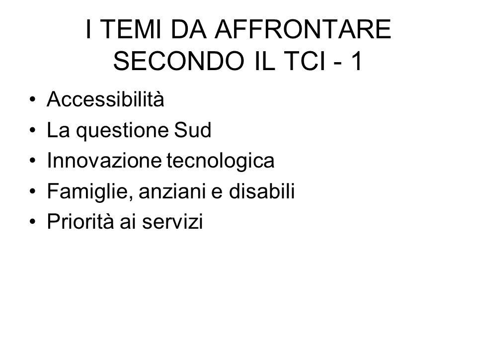 I TEMI DA AFFRONTARE SECONDO IL TCI - 1 Accessibilità La questione Sud Innovazione tecnologica Famiglie, anziani e disabili Priorità ai servizi