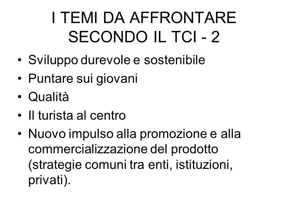 I TEMI DA AFFRONTARE SECONDO IL TCI - 2 Sviluppo durevole e sostenibile Puntare sui giovani Qualità Il turista al centro Nuovo impulso alla promozione e alla commercializzazione del prodotto (strategie comuni tra enti, istituzioni, privati).