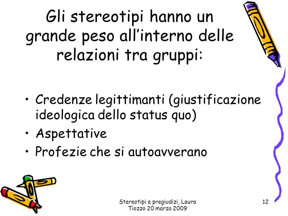 Stereotipi e pregiudizi, Laura Tiozzo 20 marzo 2009 12 Gli stereotipi hanno un grande peso allinterno delle relazioni tra gruppi: Credenze legittimant