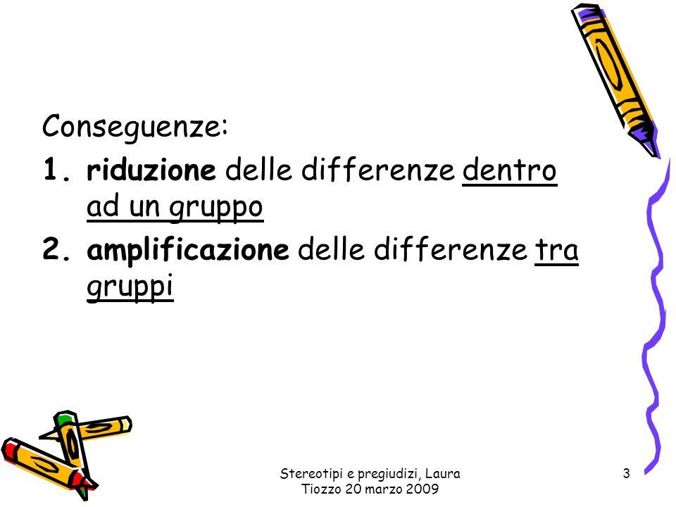 Stereotipi e pregiudizi, Laura Tiozzo 20 marzo 2009 3 Conseguenze: 1.riduzione delle differenze dentro ad un gruppo 2.amplificazione delle differenze