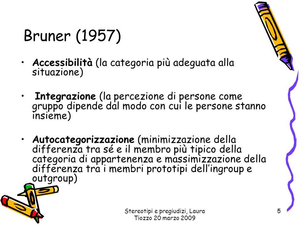 Stereotipi e pregiudizi, Laura Tiozzo 20 marzo 2009 5 Bruner (1957) Accessibilità (la categoria più adeguata alla situazione) Integrazione (la percezi
