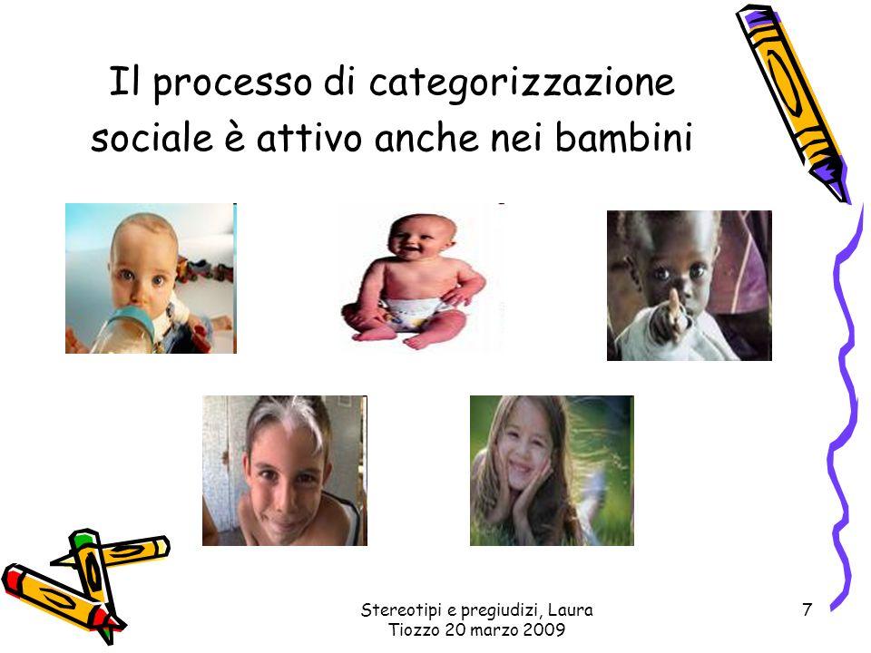 Stereotipi e pregiudizi, Laura Tiozzo 20 marzo 2009 7 Il processo di categorizzazione sociale è attivo anche nei bambini