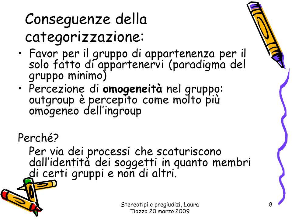 Stereotipi e pregiudizi, Laura Tiozzo 20 marzo 2009 8 Conseguenze della categorizzazione: Favor per il gruppo di appartenenza per il solo fatto di app