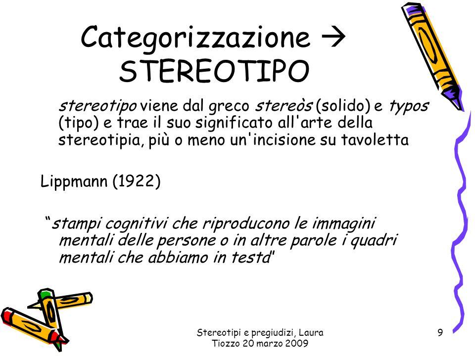 Stereotipi e pregiudizi, Laura Tiozzo 20 marzo 2009 9 Categorizzazione STEREOTIPO stereotipo viene dal greco stereòs (solido) e typos (tipo) e trae il