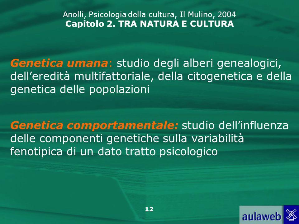 12 Anolli, Psicologia della cultura, Il Mulino, 2004 Capitolo 2. TRA NATURA E CULTURA Genetica comportamentale: studio dellinfluenza delle componenti