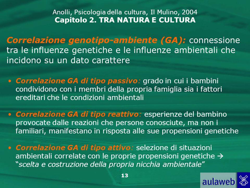 13 Anolli, Psicologia della cultura, Il Mulino, 2004 Capitolo 2. TRA NATURA E CULTURA Correlazione genotipo-ambiente (GA): connessione tra le influenz