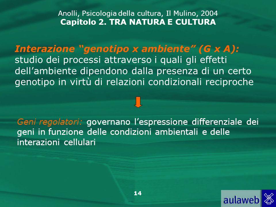 14 Anolli, Psicologia della cultura, Il Mulino, 2004 Capitolo 2. TRA NATURA E CULTURA Interazione genotipo x ambiente (G x A): studio dei processi att