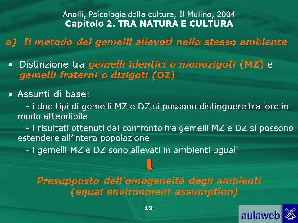 19 Anolli, Psicologia della cultura, Il Mulino, 2004 Capitolo 2. TRA NATURA E CULTURA a)Il metodo dei gemelli allevati nello stesso ambiente Distinzio