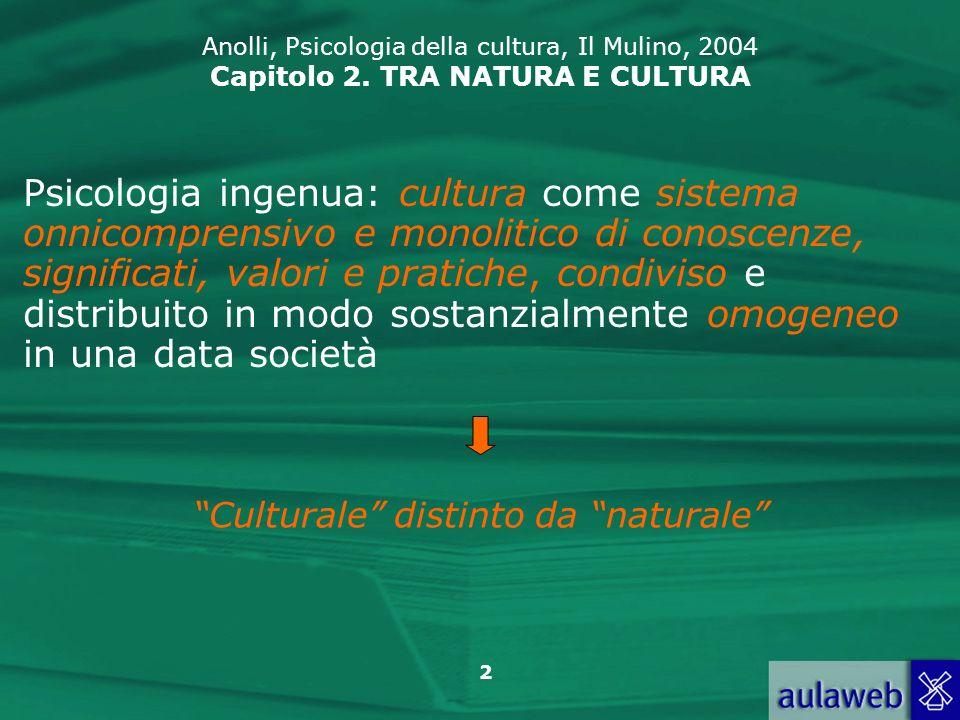 2 Anolli, Psicologia della cultura, Il Mulino, 2004 Capitolo 2. TRA NATURA E CULTURA Psicologia ingenua: cultura come sistema onnicomprensivo e monoli