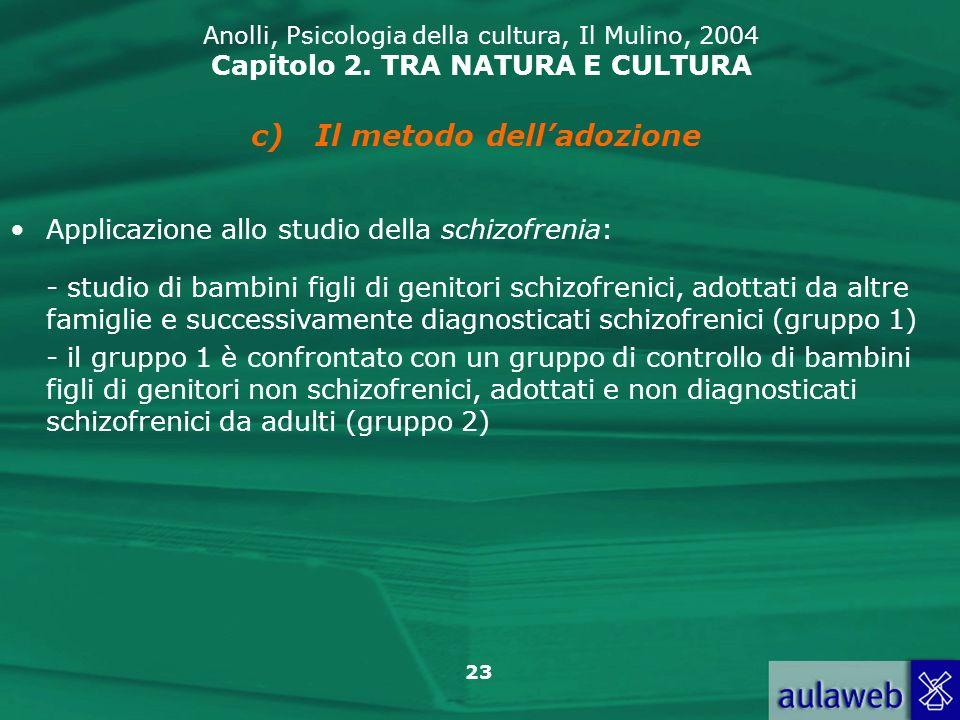 23 Anolli, Psicologia della cultura, Il Mulino, 2004 Capitolo 2. TRA NATURA E CULTURA c)Il metodo delladozione Applicazione allo studio della schizofr
