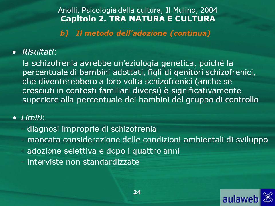 24 Anolli, Psicologia della cultura, Il Mulino, 2004 Capitolo 2. TRA NATURA E CULTURA Risultati: la schizofrenia avrebbe uneziologia genetica, poiché