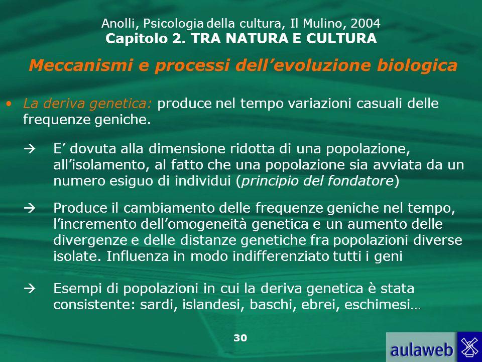 30 Anolli, Psicologia della cultura, Il Mulino, 2004 Capitolo 2. TRA NATURA E CULTURA Meccanismi e processi dellevoluzione biologica La deriva genetic