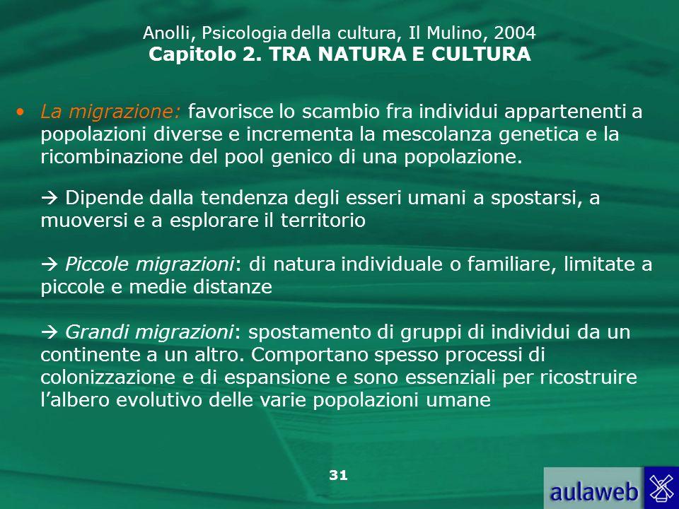 31 Anolli, Psicologia della cultura, Il Mulino, 2004 Capitolo 2. TRA NATURA E CULTURA La migrazione: favorisce lo scambio fra individui appartenenti a