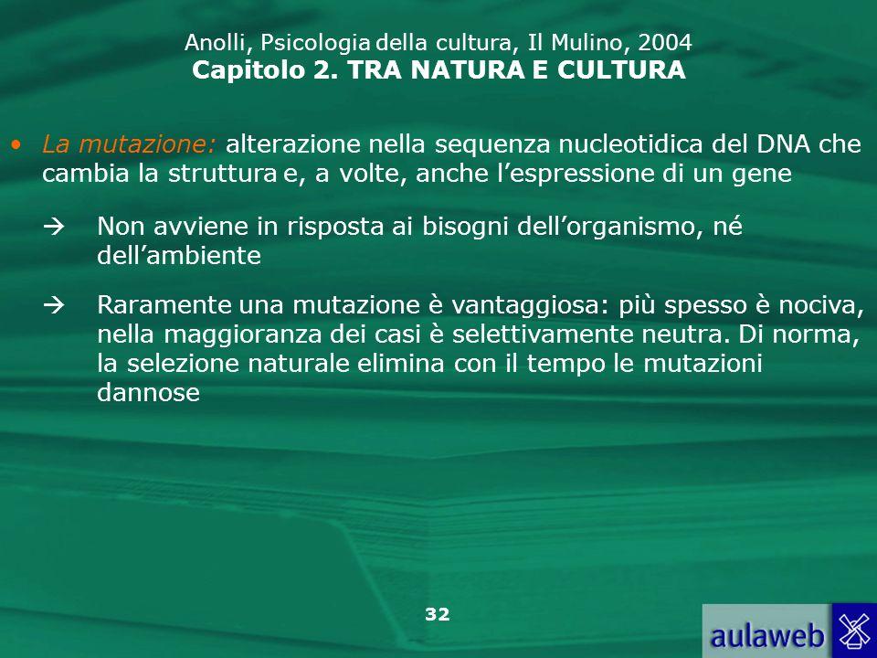 32 Anolli, Psicologia della cultura, Il Mulino, 2004 Capitolo 2. TRA NATURA E CULTURA La mutazione: alterazione nella sequenza nucleotidica del DNA ch
