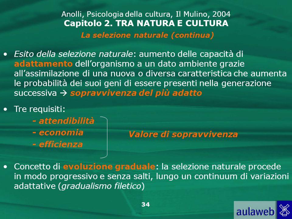 34 Anolli, Psicologia della cultura, Il Mulino, 2004 Capitolo 2. TRA NATURA E CULTURA La selezione naturale (continua) Esito della selezione naturale: