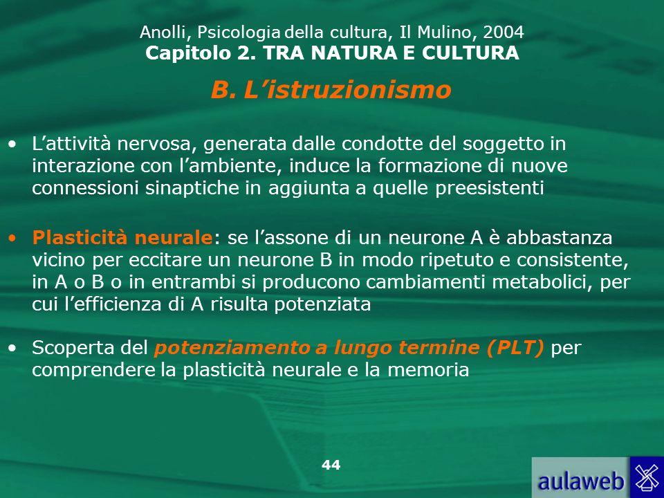 44 Anolli, Psicologia della cultura, Il Mulino, 2004 Capitolo 2. TRA NATURA E CULTURA B.Listruzionismo Lattività nervosa, generata dalle condotte del