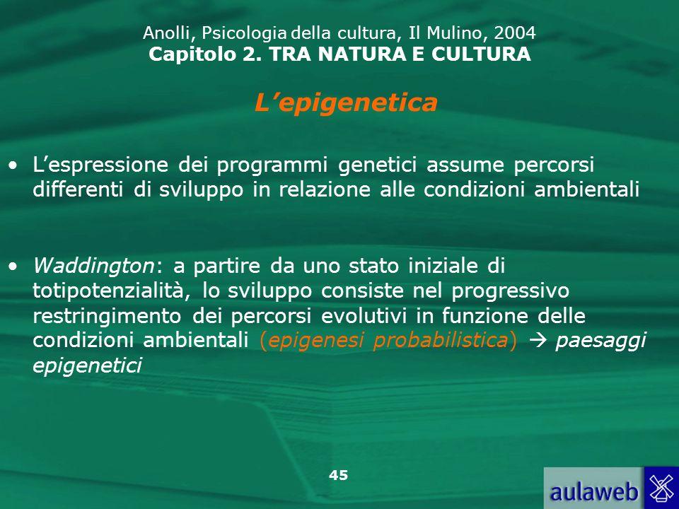 45 Anolli, Psicologia della cultura, Il Mulino, 2004 Capitolo 2. TRA NATURA E CULTURA Lepigenetica Lespressione dei programmi genetici assume percorsi